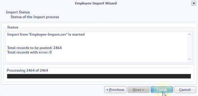 employee import completed